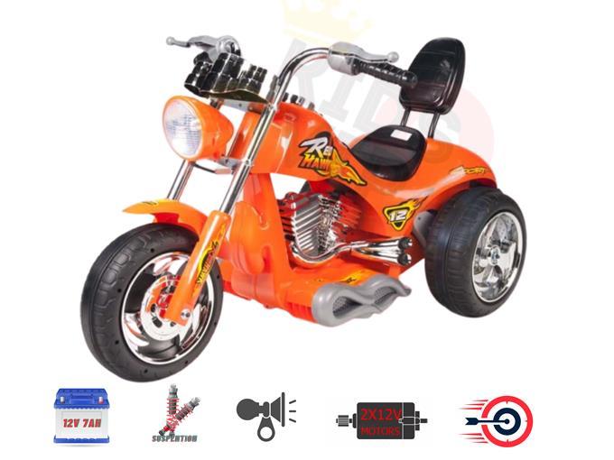 New Super Chopper Red Hawk Motors 12V Kids Ride On Motorcycle for Kids – Orange