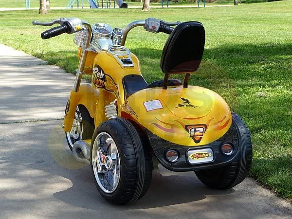 kids ride on motorcycle 12v hawk bmw yellow 1