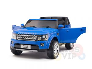 land rover discovery 2 seater kids toddlers ride na track car 12v rubber wheels leather rc blue 27