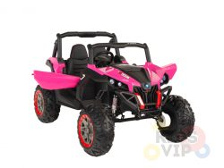 KIDSVIP 12v kids and toddlers utv 2 seats rubber wheels pink 1