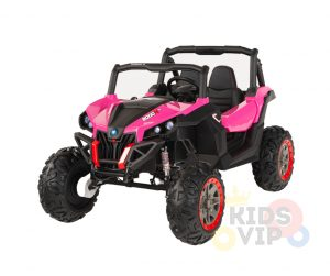 KIDSVIP 12v kids and toddlers utv 2 seats rubber wheels pink 14