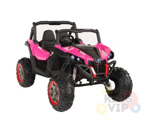 KIDSVIP 12v kids and toddlers utv 2 seats rubber wheels pink 15