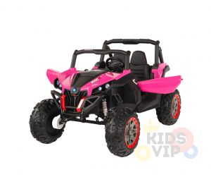KIDSVIP 12v kids and toddlers utv 2 seats rubber wheels pink 16