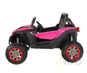 KIDSVIP 12v kids and toddlers utv 2 seats rubber wheels pink 3