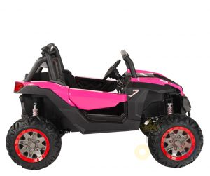 KIDSVIP 12v kids and toddlers utv 2 seats rubber wheels pink 5