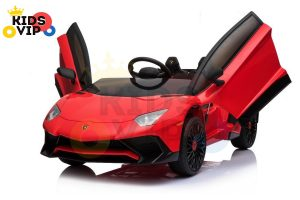 kidsvip lamborghini 12v kids and toddlers ride on car leather seat remote lambo red 9