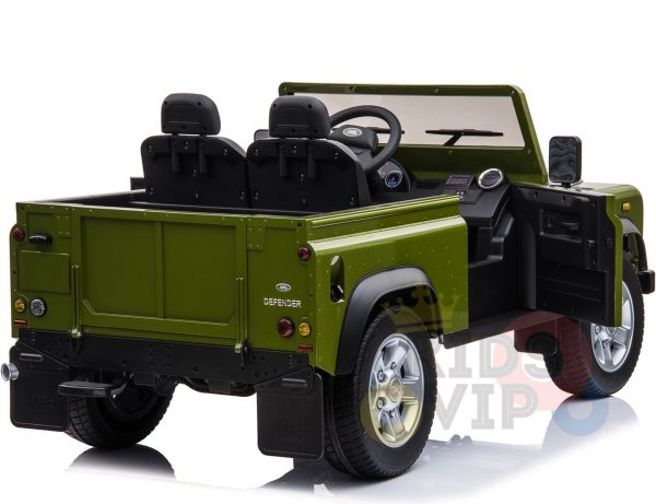 land rover defender kids toddlers ride on car truck rubber wheels leather seat kidsvip green 10