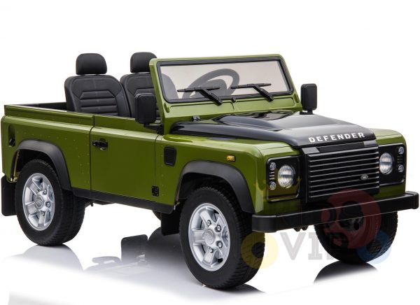 land rover defender kids toddlers ride on car truck rubber wheels leather seat kidsvip green 2