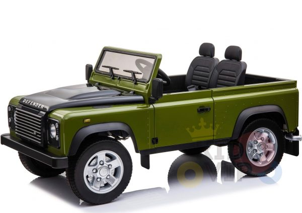 land rover defender kids toddlers ride on car truck rubber wheels leather seat kidsvip green 6