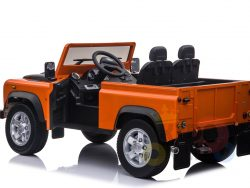 land rover defender kids toddlers ride on car truck rubber wheels leather seat kidsvip orange 1