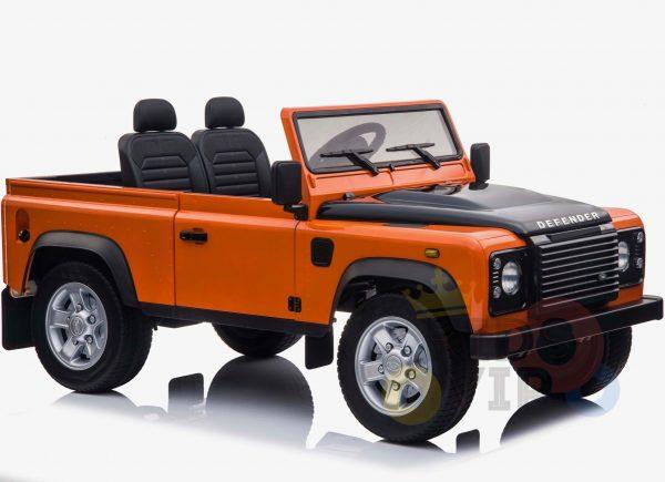 land rover defender kids toddlers ride on car truck rubber wheels leather seat kidsvip orange 11