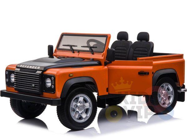 land rover defender kids toddlers ride on car truck rubber wheels leather seat kidsvip orange 12