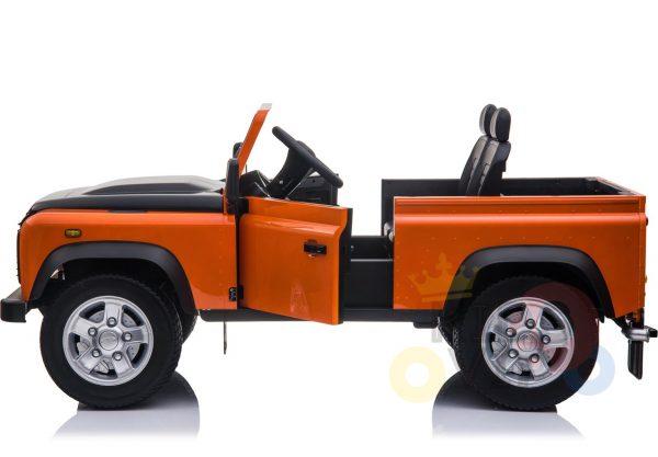 land rover defender kids toddlers ride on car truck rubber wheels leather seat kidsvip orange 13