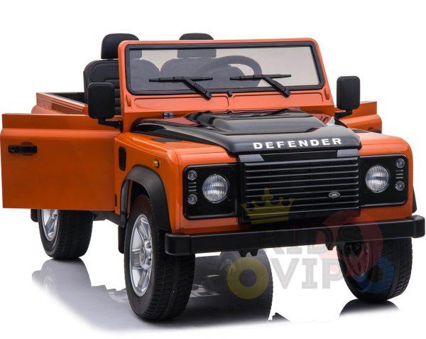 land rover defender kids toddlers ride on car truck rubber wheels leather seat kidsvip orange 3