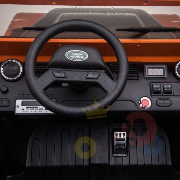 land rover defender kids toddlers ride on car truck rubber wheels leather seat kidsvip orange 4