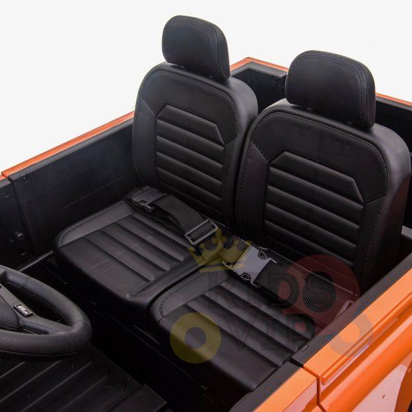 land rover defender kids toddlers ride on car truck rubber wheels leather seat kidsvip orange 5