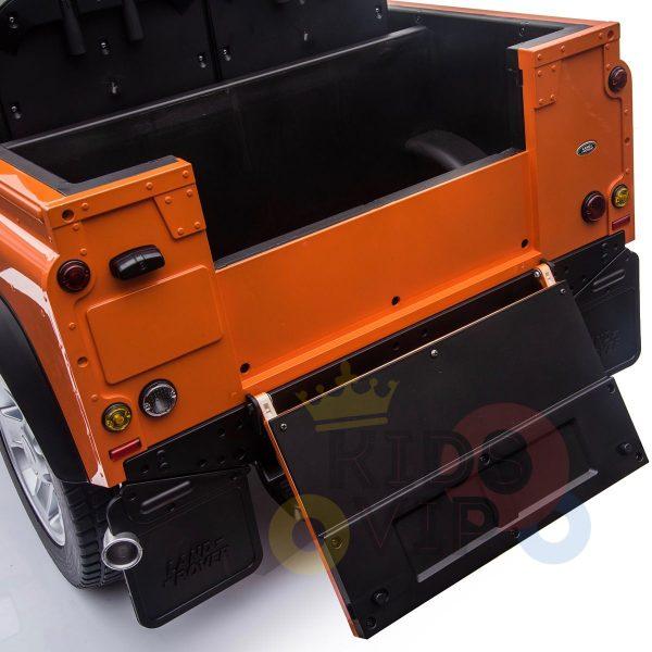 land rover defender kids toddlers ride on car truck rubber wheels leather seat kidsvip orange 6