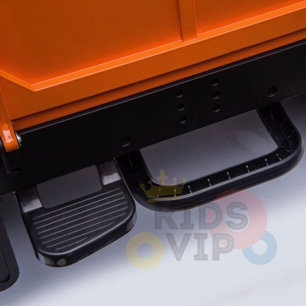 land rover defender kids toddlers ride on car truck rubber wheels leather seat kidsvip orange 7