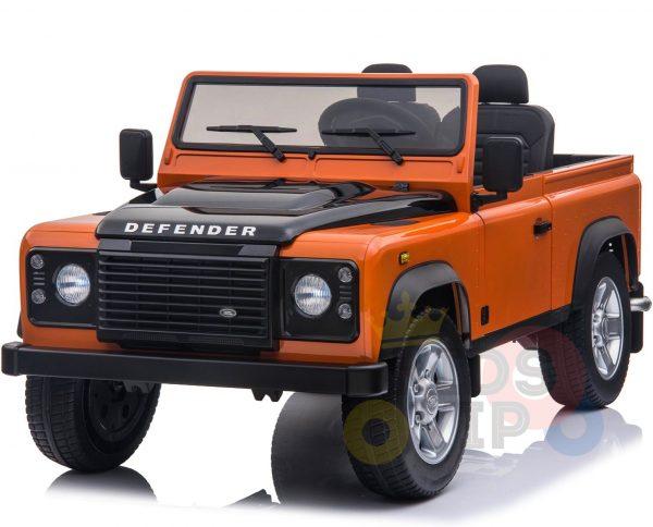 land rover defender kids toddlers ride on car truck rubber wheels leather seat kidsvip orange 8