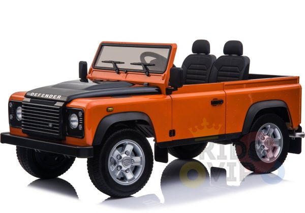 land rover defender kids toddlers ride on car truck rubber wheels leather seat kidsvip orange 9