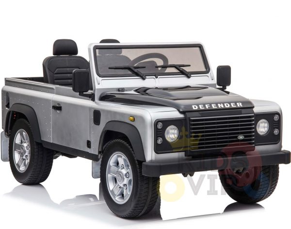 land rover defender kids toddlers ride on car truck rubber wheels leather seat kidsvip silver 1