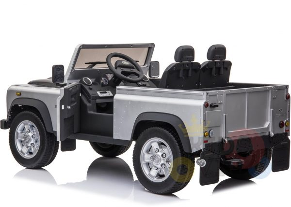 land rover defender kids toddlers ride on car truck rubber wheels leather seat kidsvip silver 2