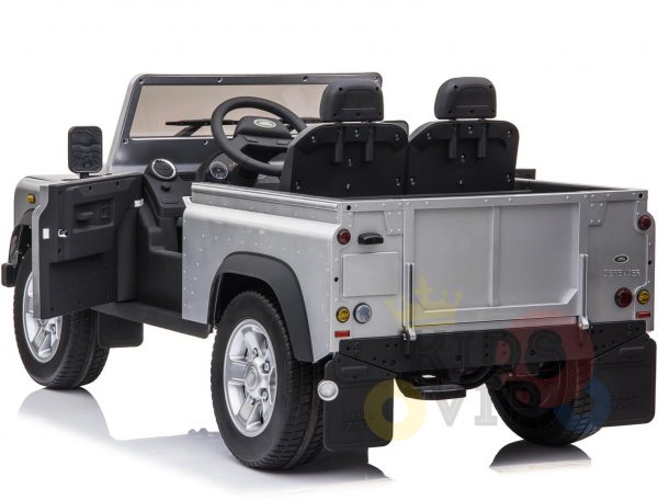land rover defender kids toddlers ride on car truck rubber wheels leather seat kidsvip silver 3