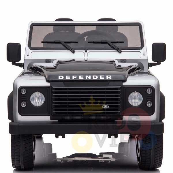 land rover defender kids toddlers ride on car truck rubber wheels leather seat kidsvip silver 4