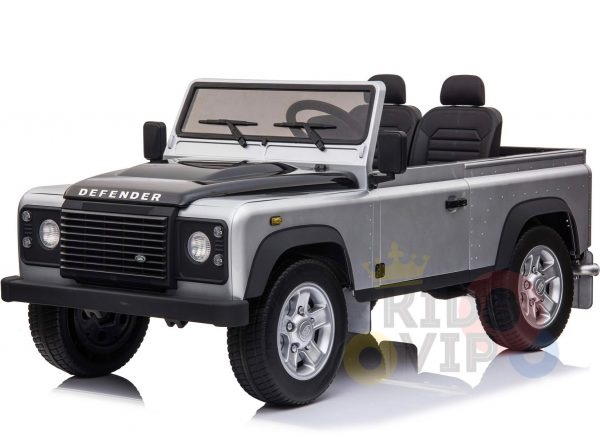 land rover defender kids toddlers ride on car truck rubber wheels leather seat kidsvip silver 5