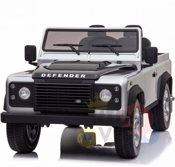 land rover defender kids toddlers ride on car truck rubber wheels leather seat kidsvip silver 6