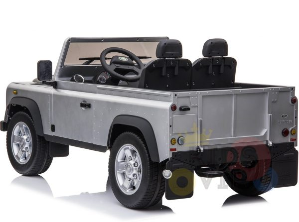 land rover defender kids toddlers ride on car truck rubber wheels leather seat kidsvip silver 7