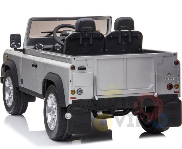 land rover defender kids toddlers ride on car truck rubber wheels leather seat kidsvip silver 8