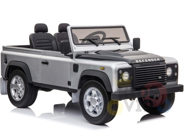 land rover defender kids toddlers ride on car truck rubber wheels leather seat kidsvip silver 9