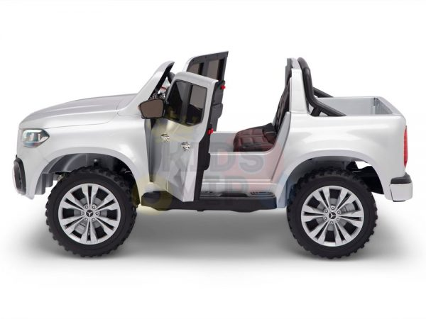 kidsvip mercedes x kids and toddlers ride on car truck 2x12v batteries silver 18