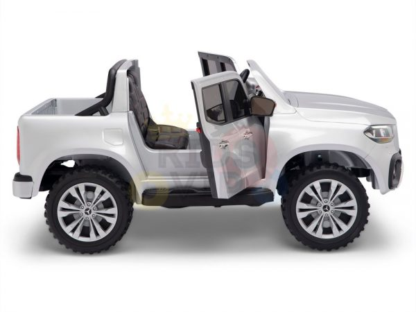 kidsvip mercedes x kids and toddlers ride on car truck 2x12v batteries silver 6 1