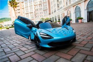 kidsvip mclaren 720s kids toddlers ride on car sport powered 12v rubber wheels leather seat rc blue 22