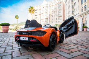 kidsvip mclaren 720s kids toddlers ride on car sport powered 12v rubber wheels leather seat rc orange 15