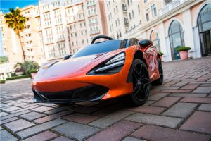 kidsvip mclaren 720s kids toddlers ride on car sport powered 12v rubber wheels leather seat rc orange 18