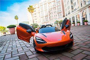 kidsvip mclaren 720s kids toddlers ride on car sport powered 12v rubber wheels leather seat rc orange 36