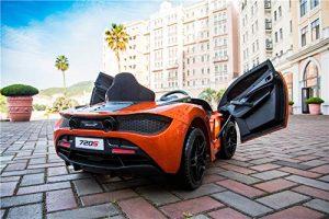 kidsvip mclaren 720s kids toddlers ride on car sport powered 12v rubber wheels leather seat rc orange 37