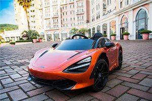 kidsvip mclaren 720s kids toddlers ride on car sport powered 12v rubber wheels leather seat rc orange 38
