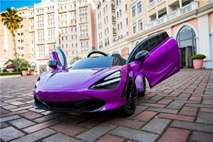 kidsvip mclaren 720s kids toddlers ride on car sport powered 12v rubber wheels leather seat rc purple 41
