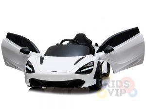 kidsvip mclaren 720s kids toddlers ride on car sport powered 12v rubber wheels leather seat rc white 17