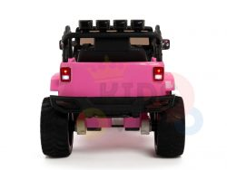 kidsvip 4x4 4wd kids and toddlers ride on jeep truck 12v rubber wheels leather seat pink 1