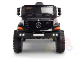 kidsvip mercedes benz zetros truck car for kids amd toddlers leather 12v rc rubber wheels black 1