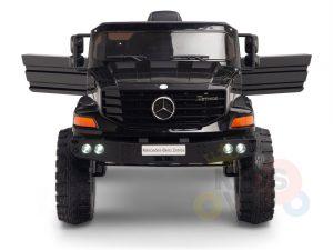 kidsvip mercedes benz zetros truck car for kids amd toddlers leather 12v rc rubber wheels black 2