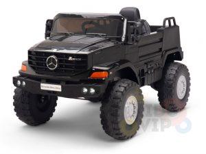 kidsvip mercedes benz zetros truck car for kids amd toddlers leather 12v rc rubber wheels black 22