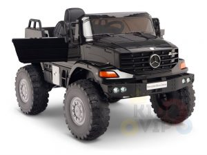 kidsvip mercedes benz zetros truck car for kids amd toddlers leather 12v rc rubber wheels black 3