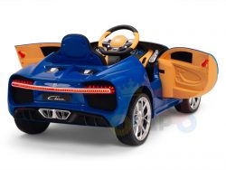 BUGATTI Kids toddlers ride car 12v rubber wheels rc leather seat remote control sport car super blue 1