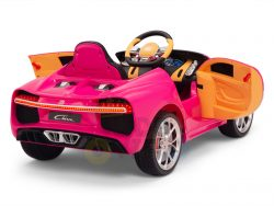 BUGATTI Kids toddlers ride car 12v rubber wheels rc leather seat remote control sport car super pink 14